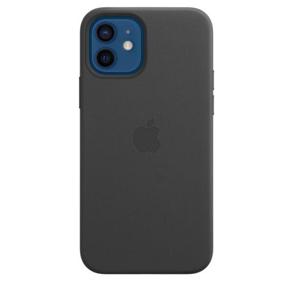 Кожен Черен калъф на Apple за iPhone 12/12 Pro Leather Case with MagSafe - Black