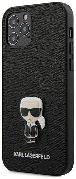 Калъф от Karl Lagerfeld Saffiano Iconic Cover за iPhone 12/12 Pro - Black