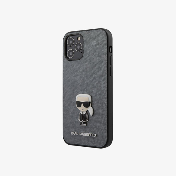 Калъф от Karl Lagerfeld Saffiano Iconic Cover за iPhone 12/12 Pro - Silver
