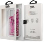 Karl Lagerfeld Liquid Glitter Charms Cover for iPhone 12/12 Pro 6.1 Pink