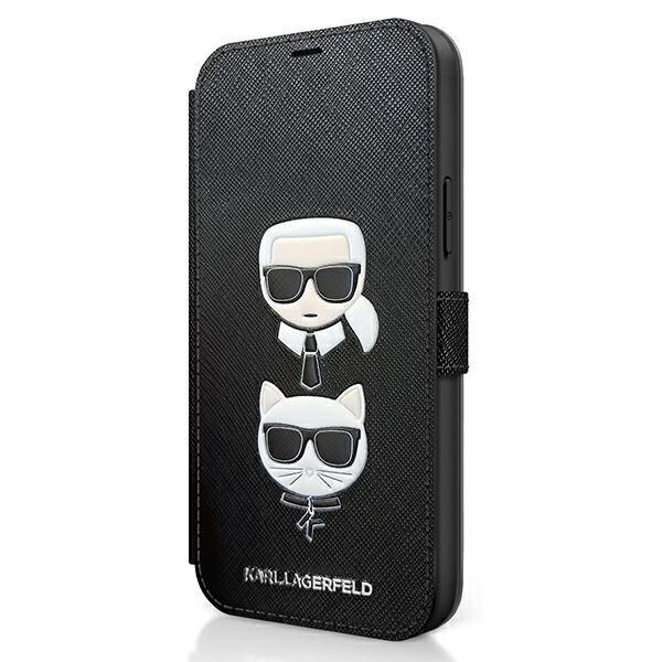 Калъф тефтер от Karl Lagerfeld за Apple iPhone 12/12 Pro Saffiano K/C Heads Book - Black