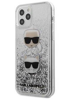 Силиконов Калъф от Karl Lagerfeld за iPhone 12/12 Pro Liquid Glitter 2 - Silver