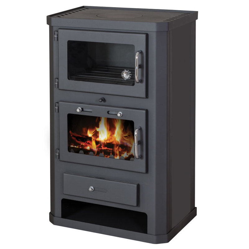 Highly efficient wood burning stove with oven