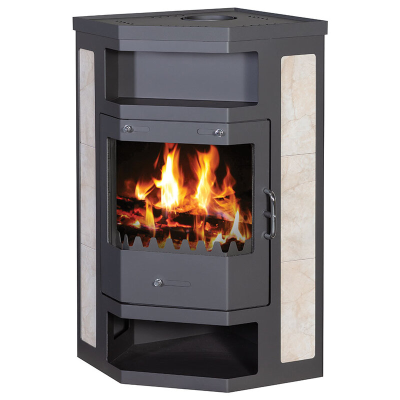 Wood Burning Stove for corner placement with ceramic tiles