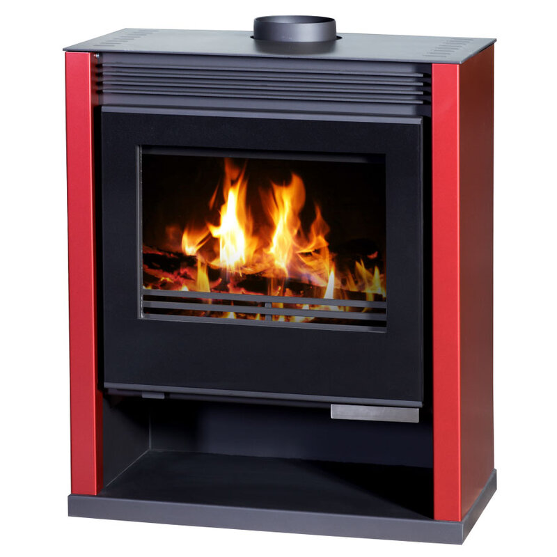 Wood Burning Stove with panoramic view of the fire