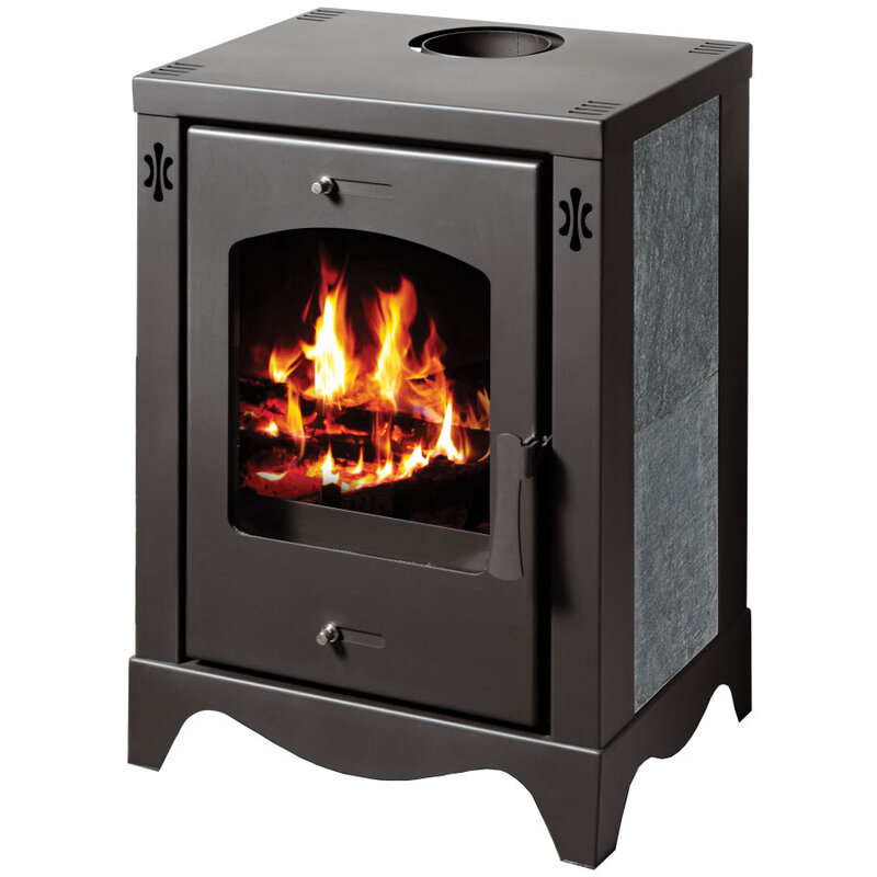 Compact Wood Burning Stove with decorative stone lining