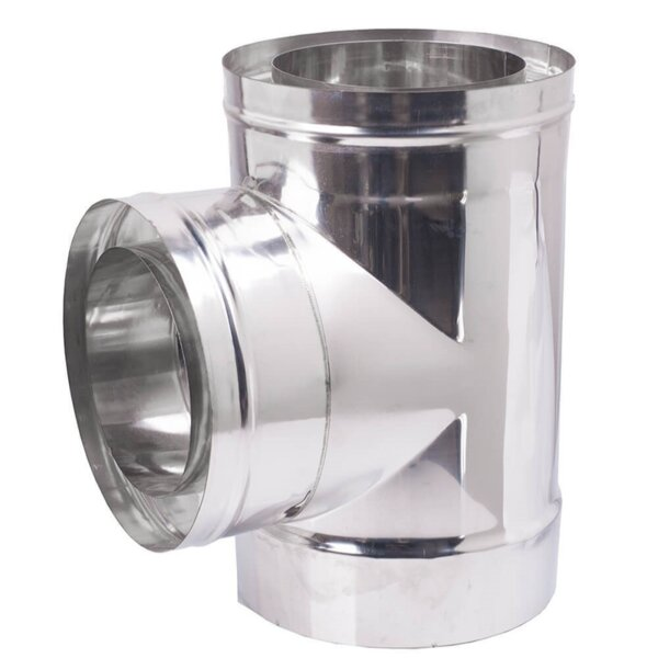 Chimney twin wall tee with cap, Insulation, Stainless steel AISI 304