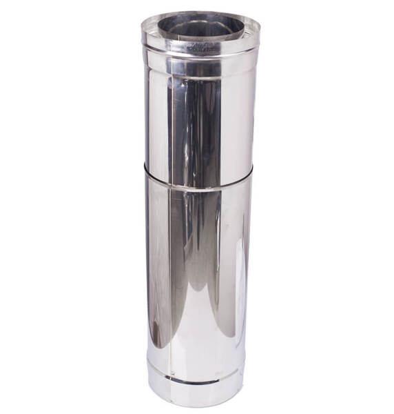Telescopic twin wall flue pipe, Stainless steel AISI 304, Straight, Insulated, Length 51 - 90cm