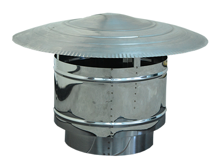 Twin wall chimney cowl, Stainless steel, Diameter Φ80 - Φ350