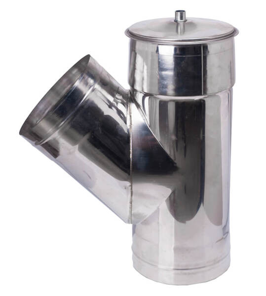 Chimney tee with cap 135°, Stainless steel AISI 304
