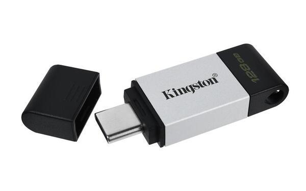 KINGSTON USB Stick Data Traveler DT80/128GB, USB 3.2 Type-C, Silver/Black
