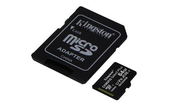 KINGSTON Memory Card MicroSD Canvas Select Plus SDCS2/64GB, Class 10, SD Adapter