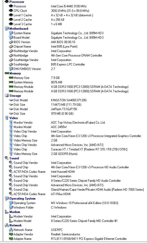 Refurbished Gaming PC Intel Core i5 4440, R9 270X, B85-HD3, 8GB DDR3