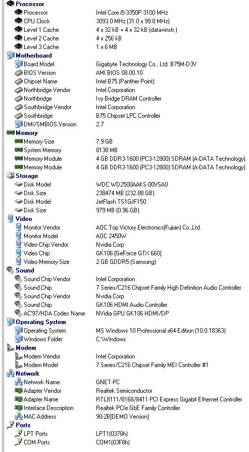 Refurbished Gaming PC Intel Core i5-3350P, 660GTX, B75M-D3V, 8GB DDR3