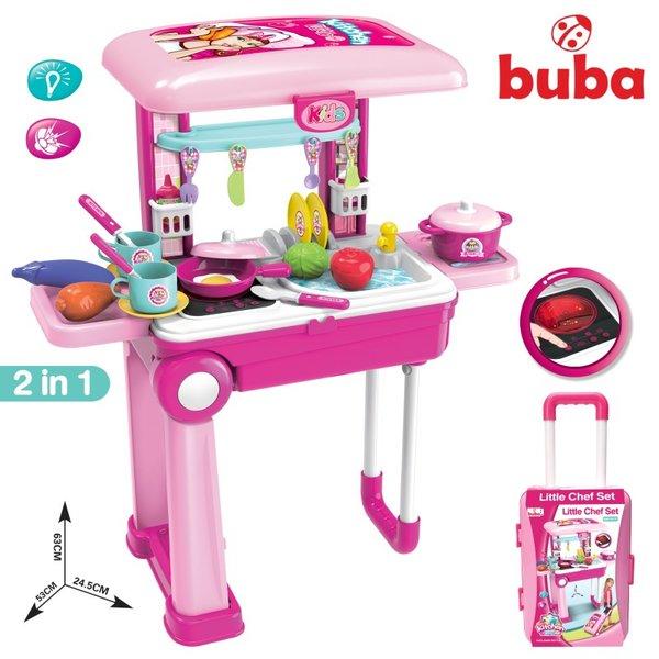 Детска кухня Little Chef - Розов Куфар