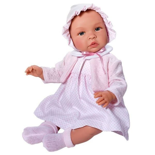 Кукла-бебе, Лея, с рокля, плетена жилетка и шапка
