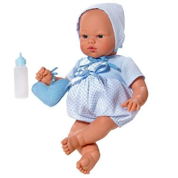 Кукла-бебе, Коке със синьо костюмче и чантичка, 36 см