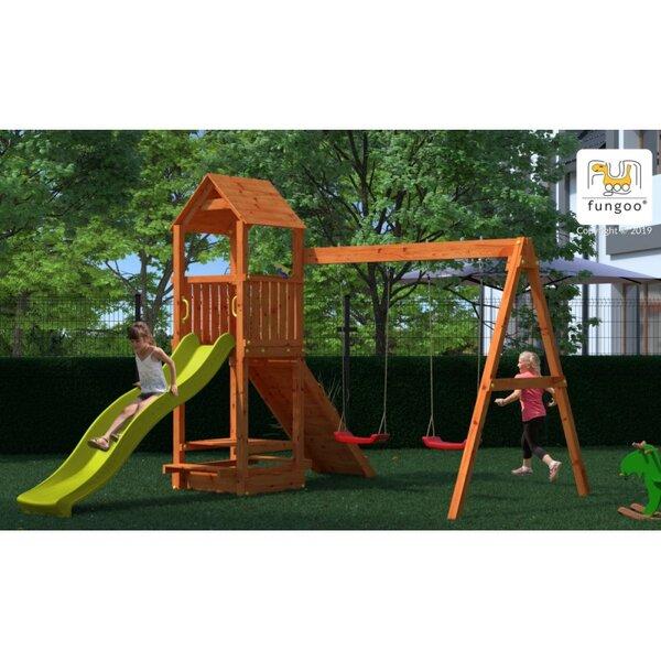 FLATTI дървена детска площадка с пързалка и люлки