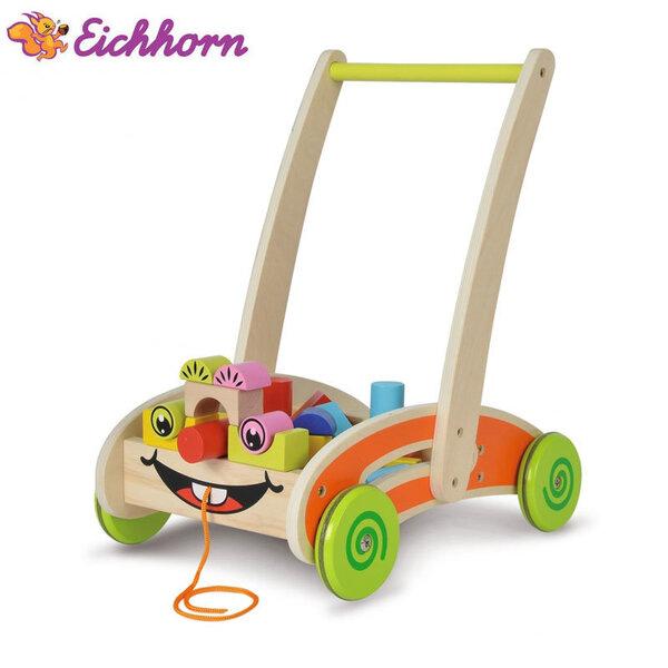 Eichhorn Дървена количка с кубчета 2в1