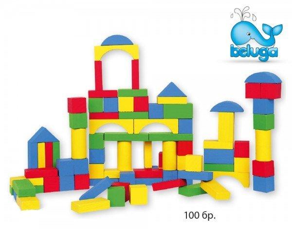 Комплект дървени кубчета 100 елемента