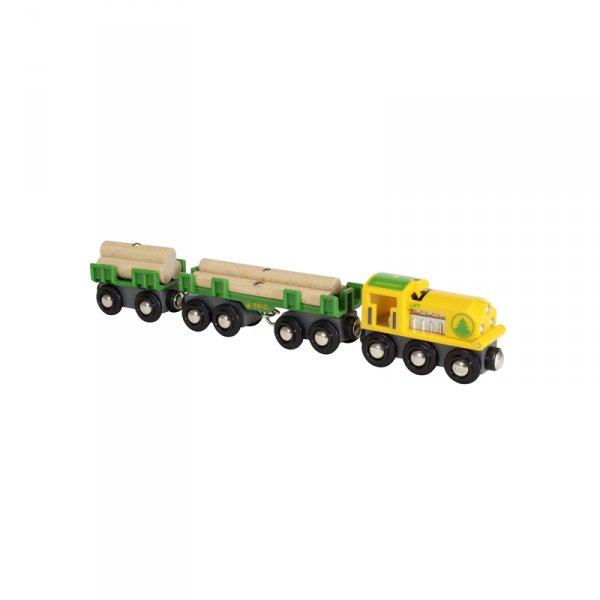 Влакче и вагони с дървени трупи