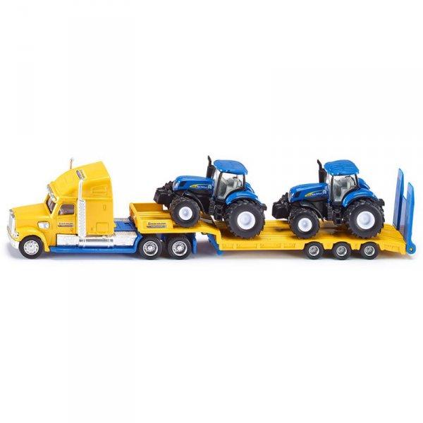Тир с платформа и две тракторчета New Holland