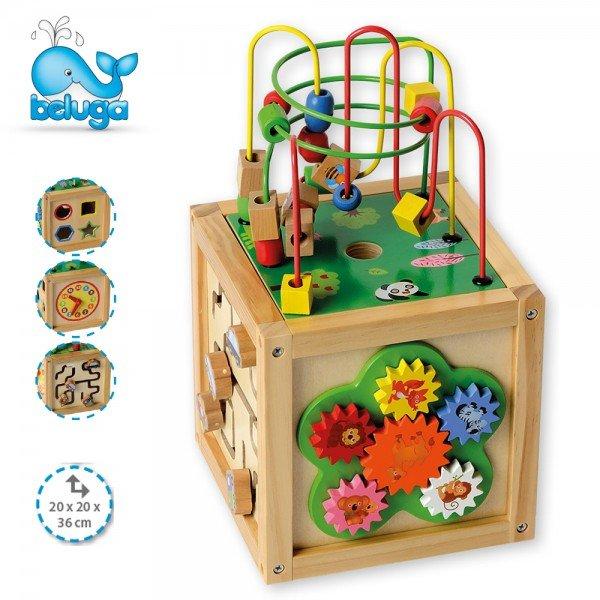 Дървен образователен куб - голям