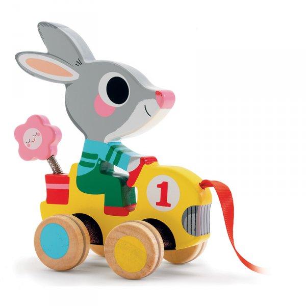 Дървена играчка за дърпане  зайче