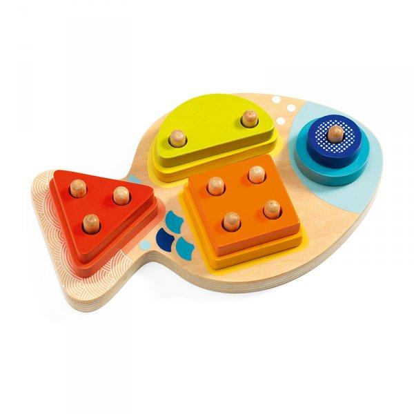 Дървена играчка за сортиране Риба