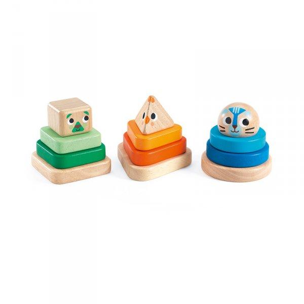 Дървена играчка за сортиране Пирамиди