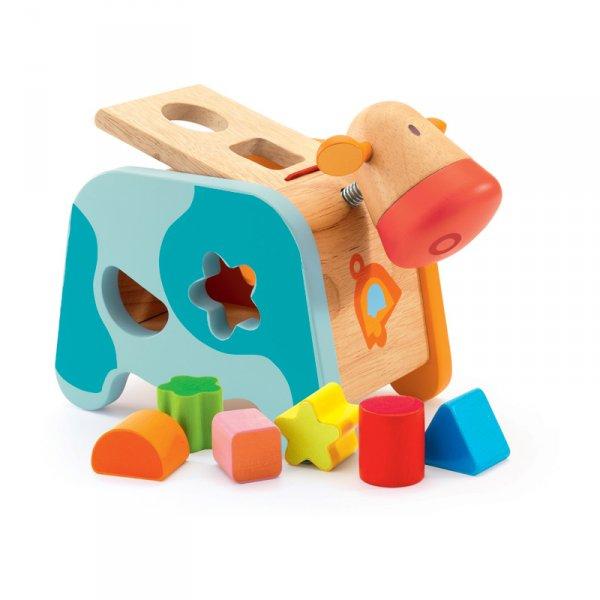 Дървена играчка за сортиране Крава