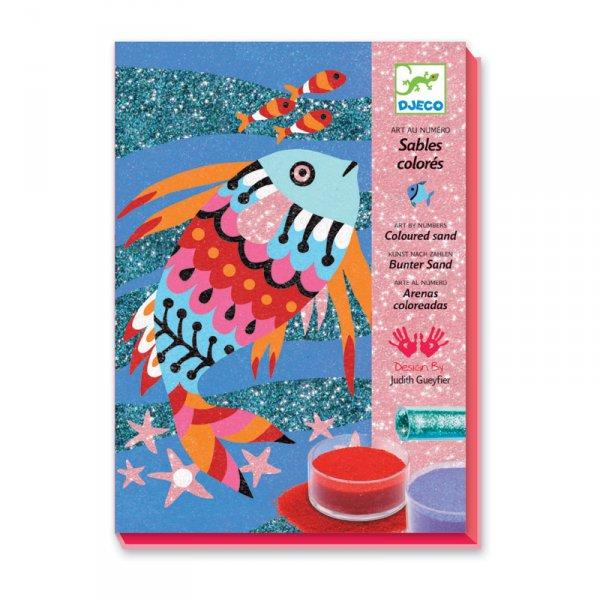 Комплект за оцветяване с брокат и пясък - Дъгата на рибките