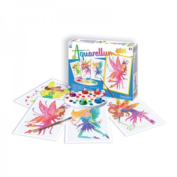 Комплект за оцветяване с акварелни бои Феи