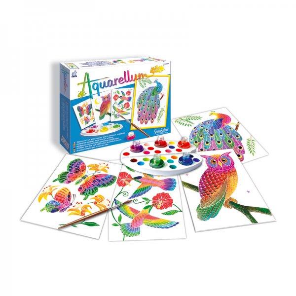 Комплект за оцветяване с акварелни бои Птици