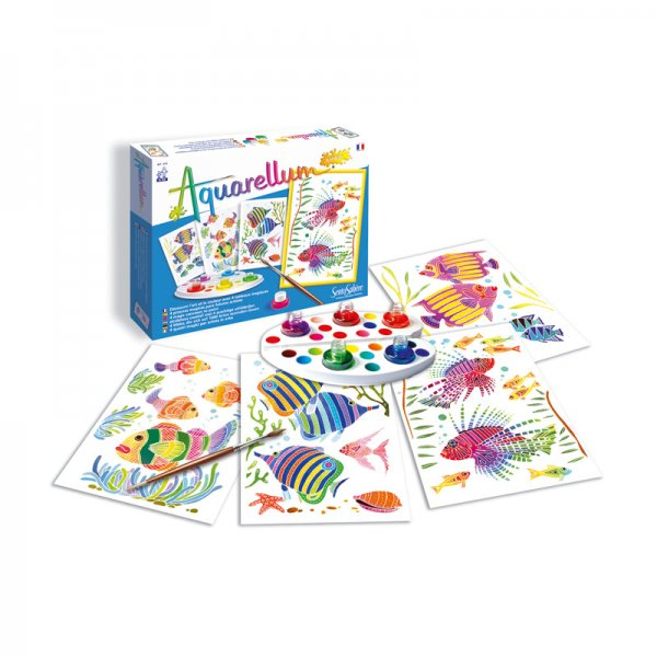Комплект за оцветяване с акварелни бои Аквариум