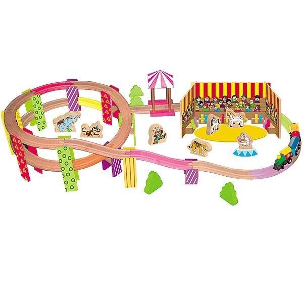 Детско дървено влакче с релси - цирк