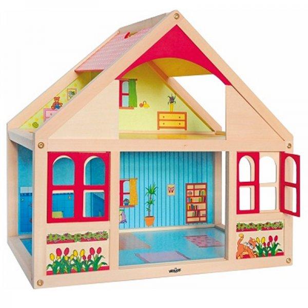 Детска дървена къща за кукли