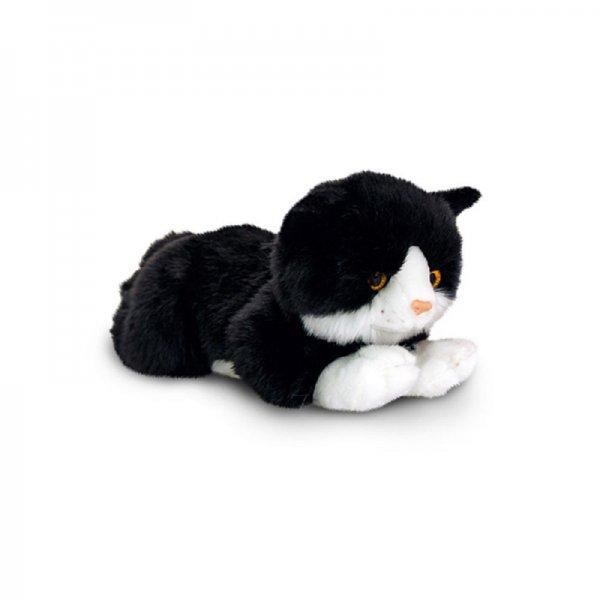 Плюшено черно коте с бели петна