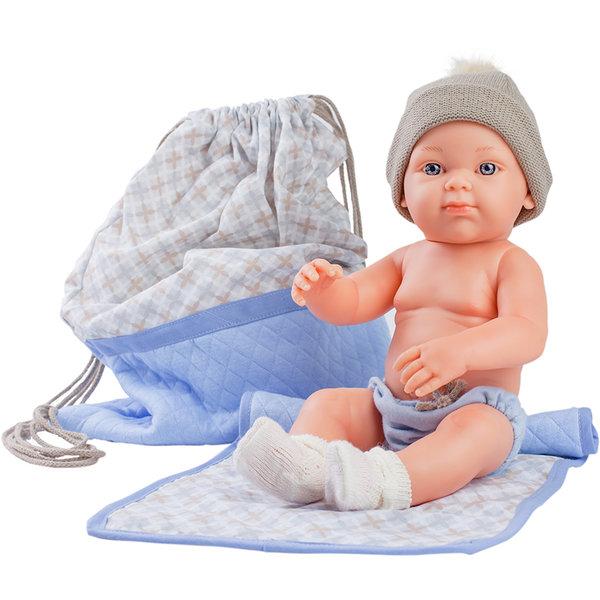 Кукла бебе Azul с постелка  и чанта, Mini Pikolines