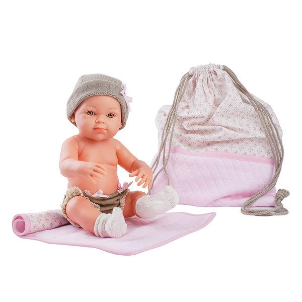 Кукла бебе Rosa с постелка и чанта, Mini Pikolines