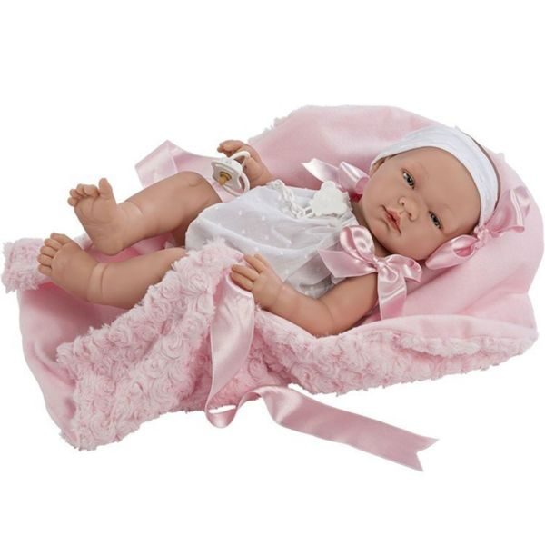 Кукла - бебе Мария с розаво гащеризонче