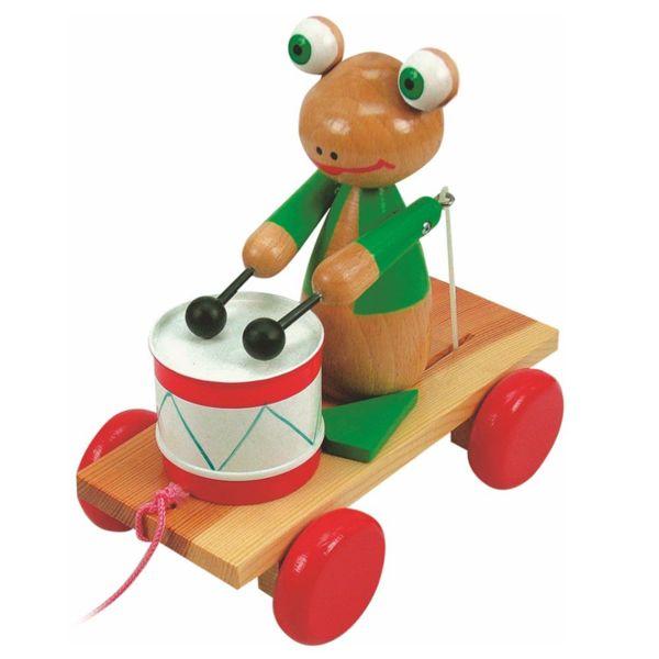 Играчка за дърпане - Жаба с барабан