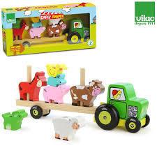 Дървен трактор с животни