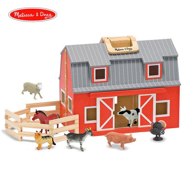 Сгъваема дървена конюшня с животни