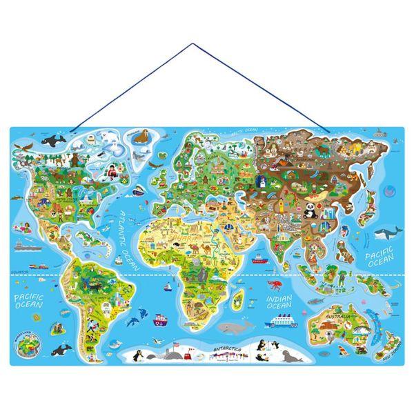 Дървен пъзел с магнитни части - Карта на света 2 в 1