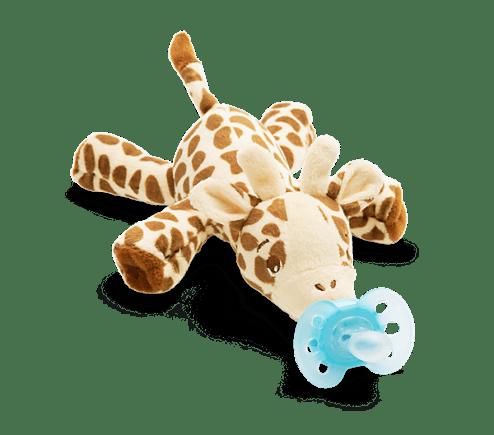 Залъгалка с плюшена играчка за гушкане