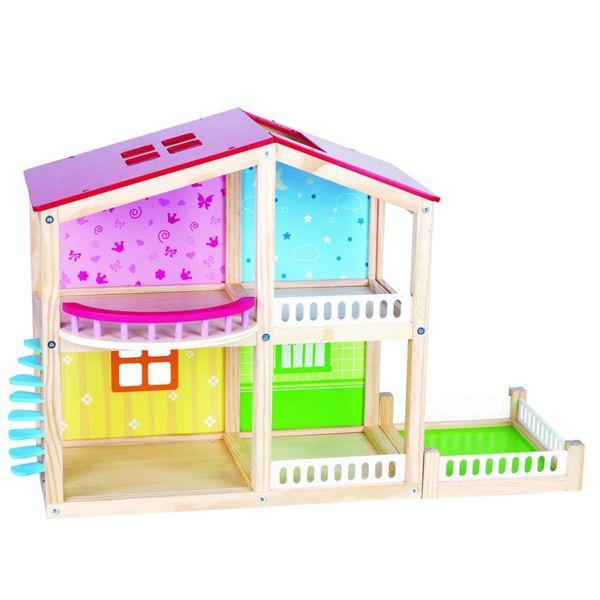 Дървена двуетажна къща за кукли - Фантазия