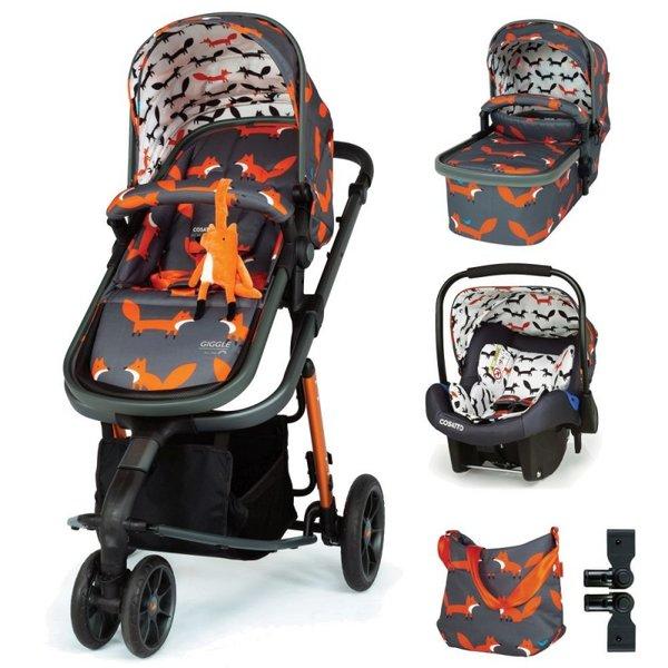 Бебешка количка 3 в 1 Giggle 3 - Charcoal Mister Fox