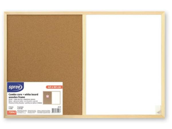 Бяла+корк дъска с дърв.рамка 60х90 см