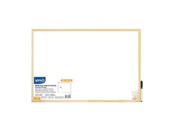Бяла дъска с дървена рамка 60х90 см